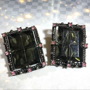 Vintage gray and pink rhinestone clip earrings